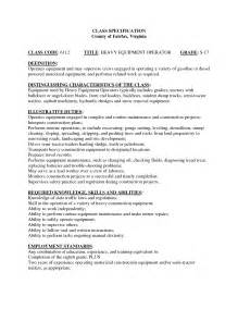 heavy equipment operator resume sles heavy equipment operator resume exle