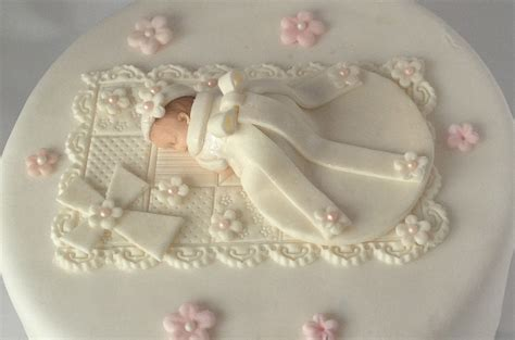Fondant BABY CHRISTENING CAKE Topper Baby in Christening Gown