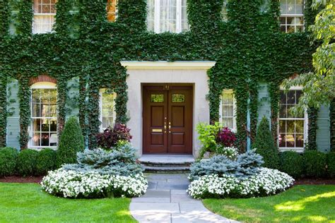 front entry landscape ideas traditional  painted brick