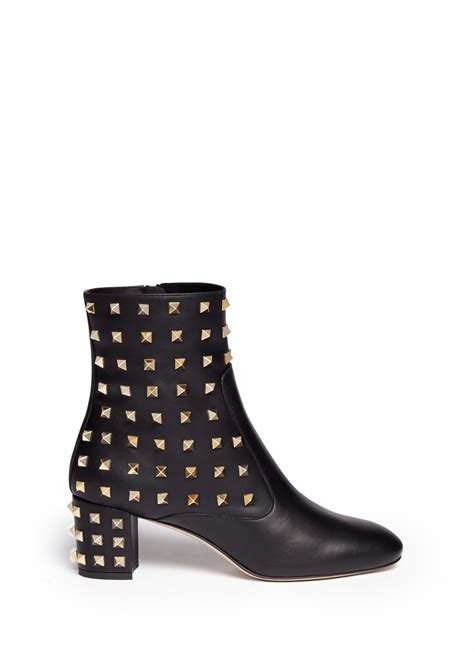 studded boots valentino studded leather boots in black lyst