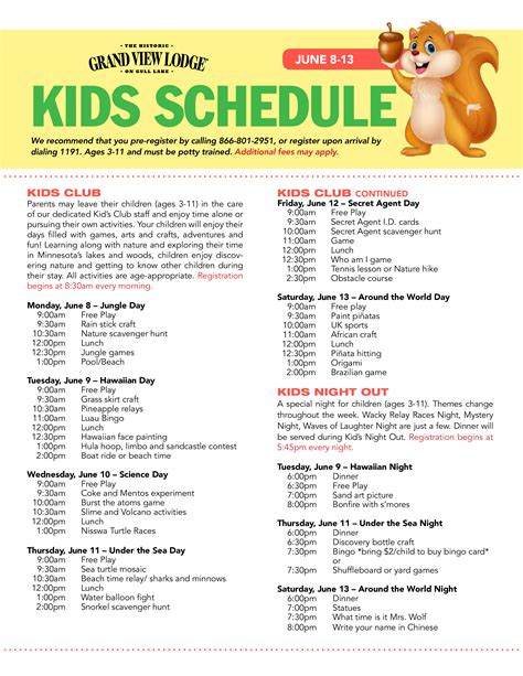 kids day night event schedule templates