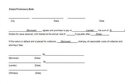 free secured promissory note template word promissory note template 34 free word pdf format