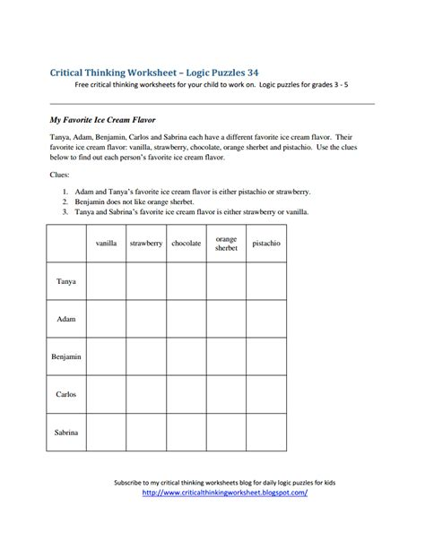 Logic Puzzles Worksheets