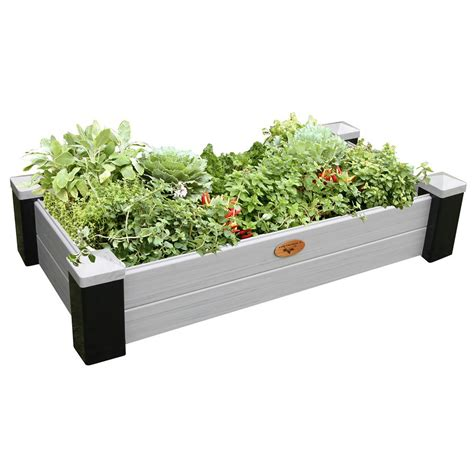 Vinyl Raised Garden Beds by Gronomics 24 In X 48 In X 10 In Maintenance Free Black