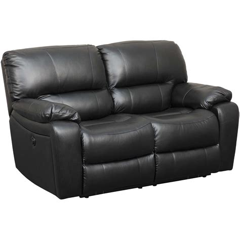 Leather Reclining Loveseat by Wade Black Top Grain Leather Reclining Loveseat 7059 52