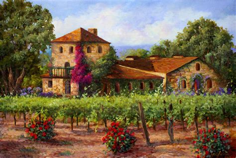 French Country Art Prints - v sattui winery revisited painting by gail salituri