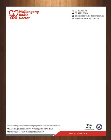doctor letterhead template letterhead design for wollongong radio doctor by harmi 199