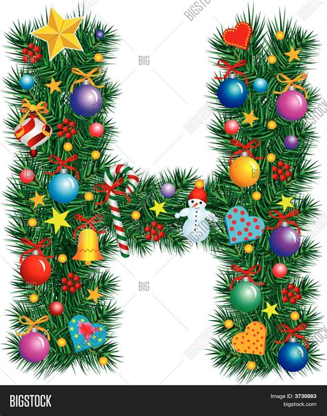 alphabet letter h christmas decoration stock vector