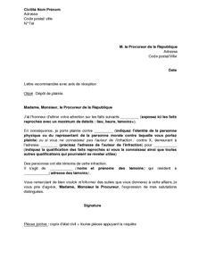 Modèle De Lettre Au Procureur De La République sle cover letter exemple de lettre de plainte