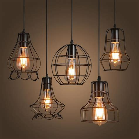 loft iron pendant light vintage industrial lighting