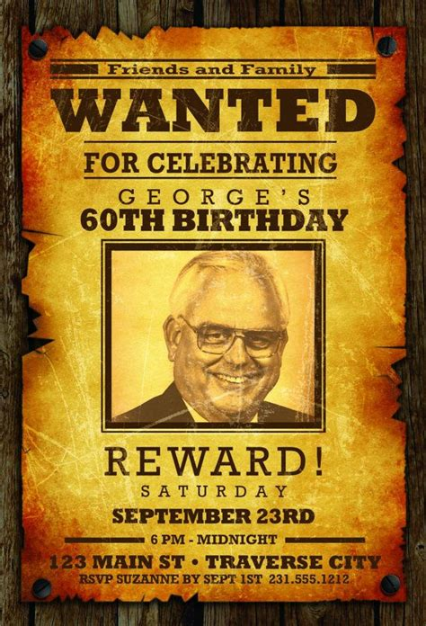 wanted poster invitation wanted poster adult birthday