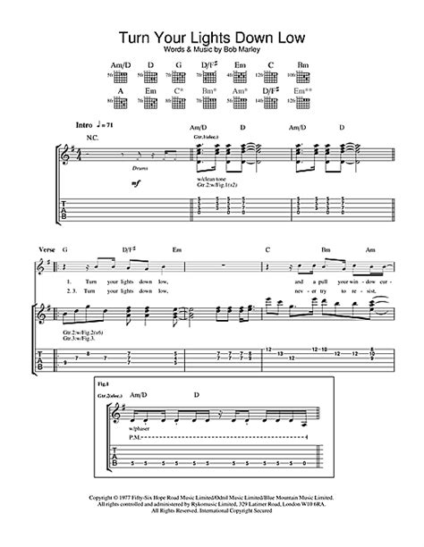 lights down low guitar chords turn your lights down low guitar tab by bob marley the