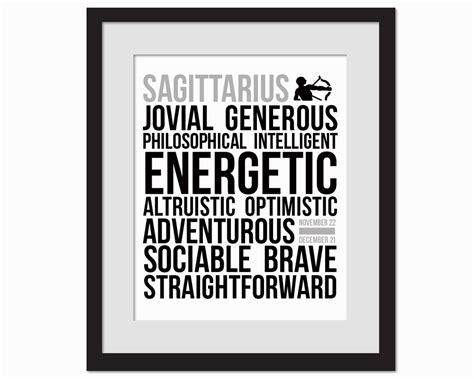 printable typography art sagittarius personality character traits black white