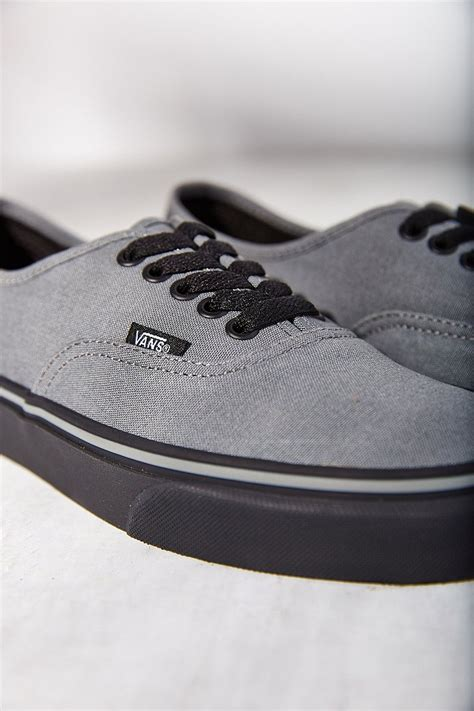 vans authentic black sole sneaker in gray lyst