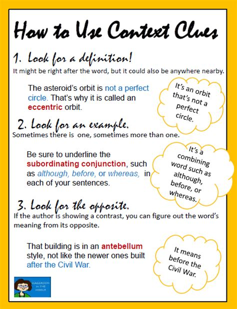 meaning in context and grammar english language usage context clues chart