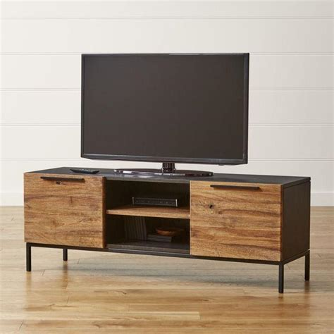 Wine Credenza Knox Black And Brown Media Console With 2 Tall Storage