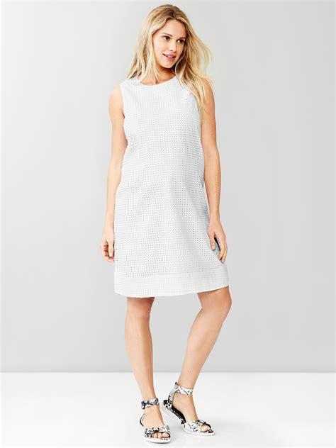 Gap Dress gap white embroidered eyelet shift dress lyst