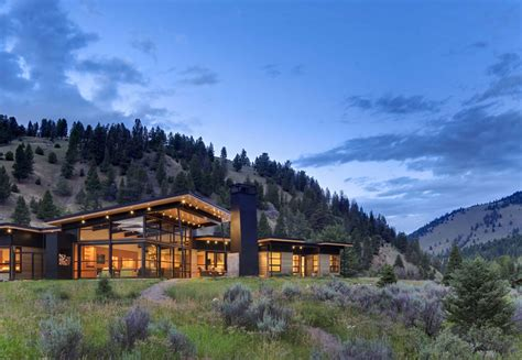 beautiful houses river bank house in montana