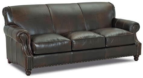 Leather Traditional Sofa Fremont Traditional Leather Stationary Sofa By Klaussner Wolf Furniture