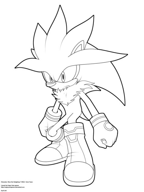 Lineart Silver The Hedgehog By Angrysonicgamer On Deviantart Silver The Hedgehog Coloring Pages
