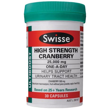 Swisse Ultiboost High Strength Cranberry 25000mg 30tab swisse ultiboost high strength cranberry 25 000mg 30 capsules westfield