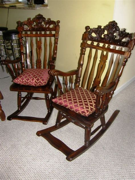 Antique Rocking Chair Identification by I M Trying To Identify 2 Antique Rocking Chairs