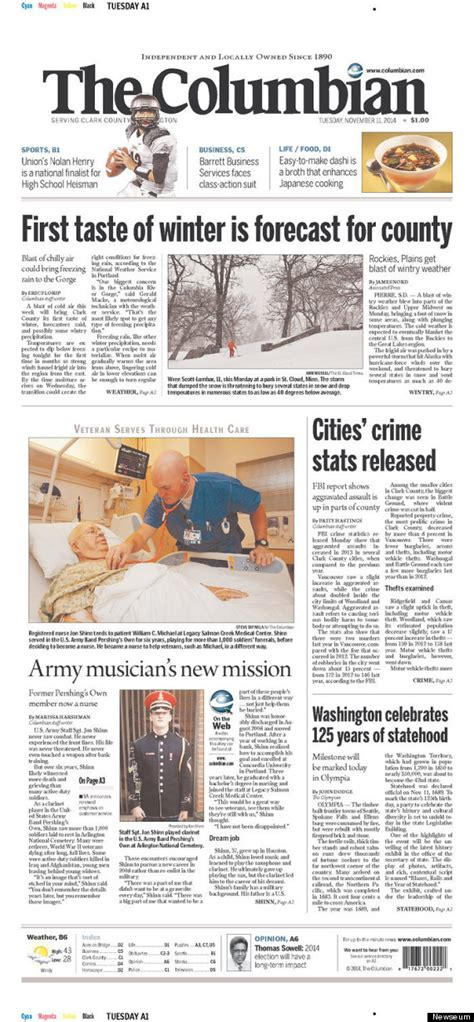 washington post crime section veterans day newspaper front pages were as powerful as