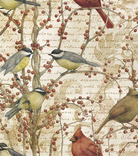 Bird Quilting Fabric by Legacy Studio Quilt Fabric Winter Birds Vine Jo