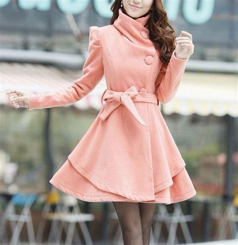 light pink pea coat coat light pink pea coat bow winter wheretoget
