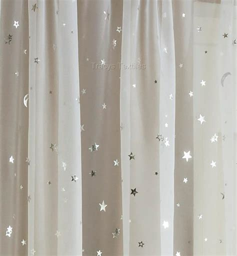 sheer curtains with stars starlight moonlight sheer white silver voile panel