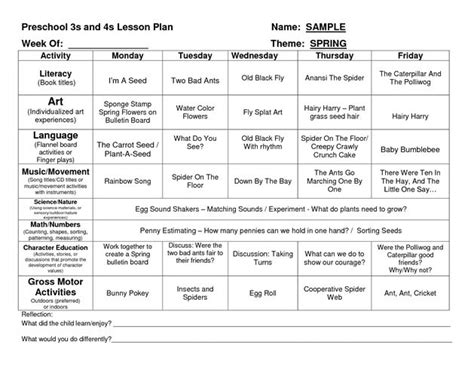preschool creative curriculum lesson plan template