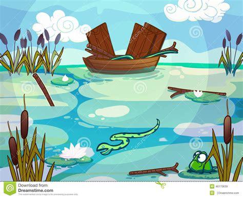 cartoon boat on lake boat on a lake drawn in cartoon style stock illustration