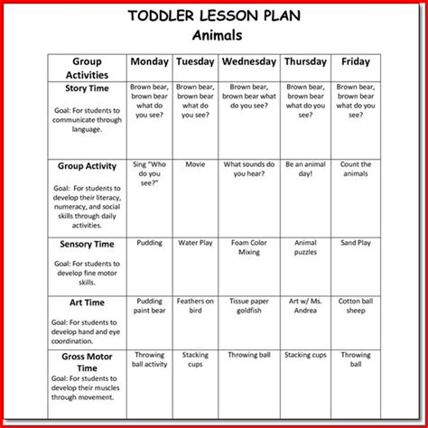 creative curriculum for preschool lesson plan templates