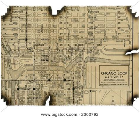 chicago map 1930 burnt map of chicago 1930 stock photo stock images