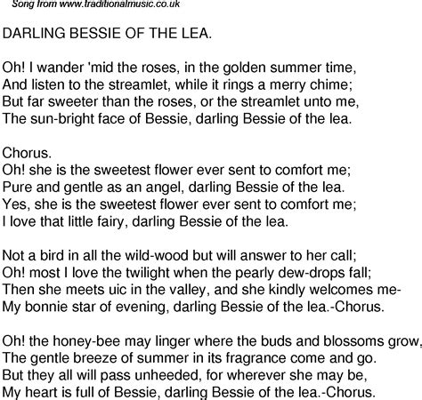comfort me lyrics old time song lyrics for 32 darling bessie of the lea
