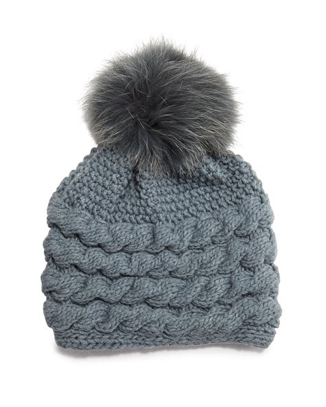 cable knit pom pom hat inverni cable knit beanie hat w fur pom pom in