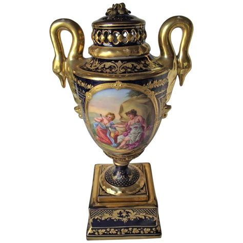 Royal Vienna Vase by Royal Vienna Vase Severes Style Cobalt Blue With Raised