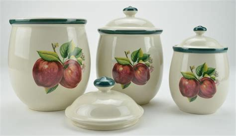 apple kitchen canisters casuals by china pearl apple three piece ceramic