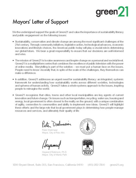 Letter Of Support For Priority Needs Housing Mayors Letter Of Support For Green21 Green21 A Multiplatform Media Initiative