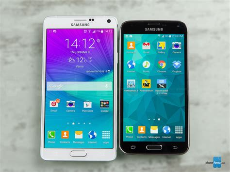 samsung galaxy note 4 vs samsung galaxy s5 phonearena