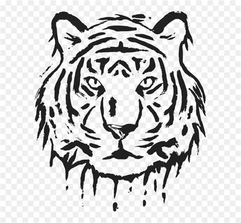 gambar muka harimau hitam putih hd png