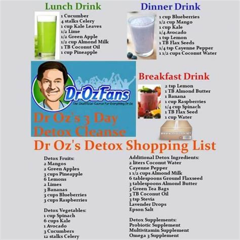 Dr Oz Top Ten Detox Foods by Dr Oz S 3 Day Detox Cleanse Drinks Luch Dinner