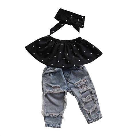 Set Denim Polka 1 3pcs set fashion children clothes 2017 summer