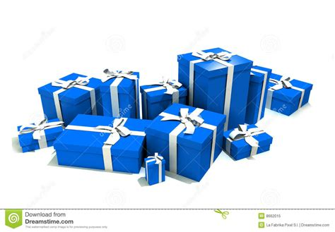 Blue Man Group Gift Card - gift boxes in blue royalty free stock photo image 8662015