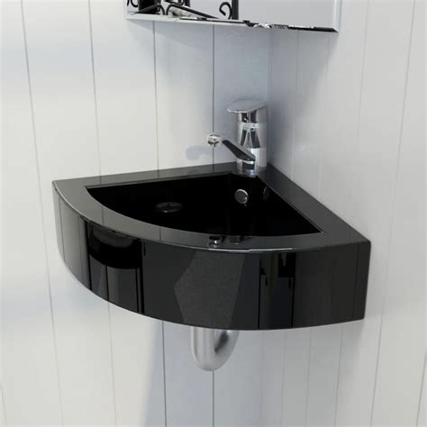 vidaxlcouk ceramic bathroom sink basin faucetoverflow