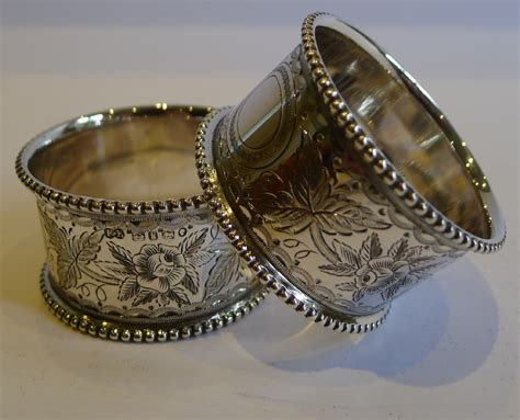 fabulous pair antique sterling silver napkin rings