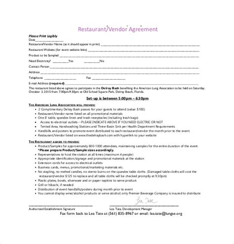 vendor agreement templates  sample