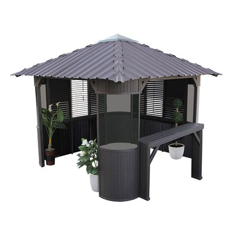 gazebo b q canadian spa frazer freestanding brown gazebo with