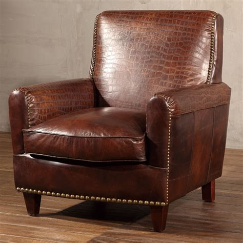 distressed leather armchair crocodile leather armchair with distressed brass nailhead