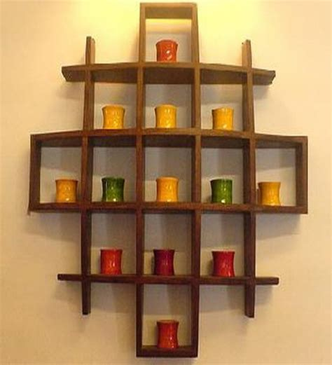 Display Wall Shelf by Cayenne Mango Wood Wall Display Rack By Market Finds